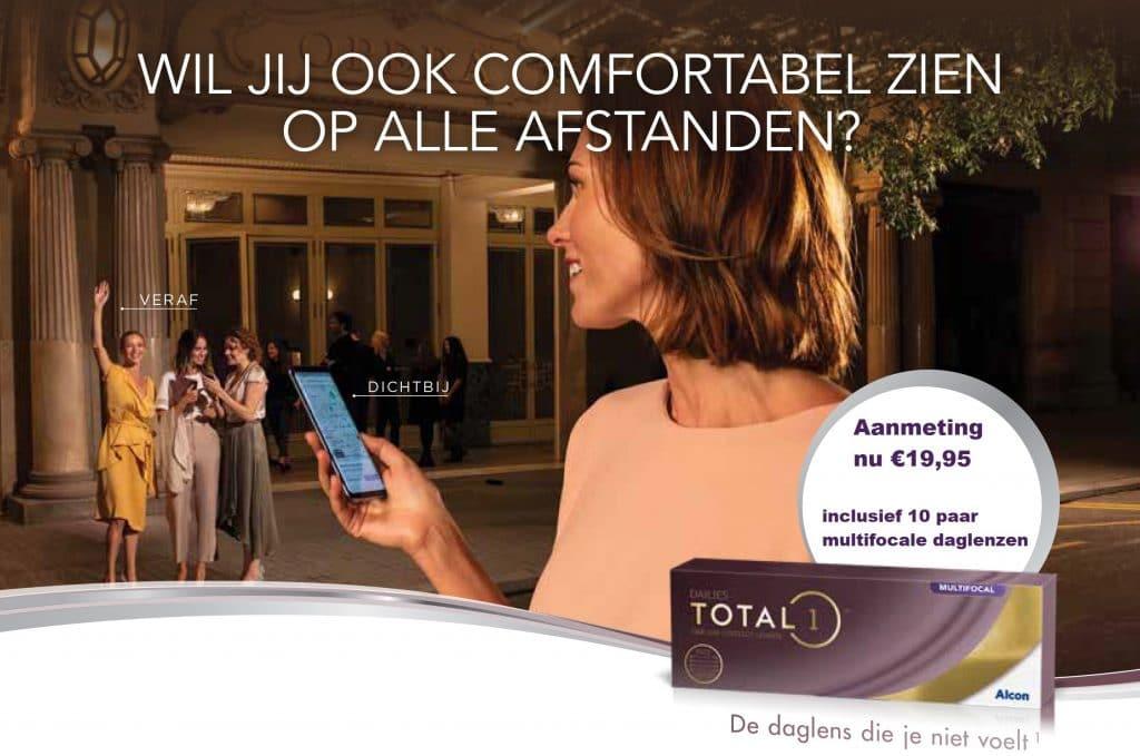 Wil jij ook comfortabel zien op alle afstanden? Aanmeting nu €19,95 inclusief 10 paar multifocale daglenzen.